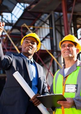 two men on construction site